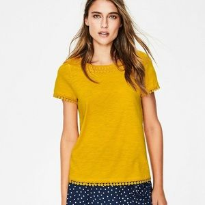 Boden Thelma Jersey T-Shirt Tee Embroidered Trim